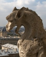 Dragon gargoyle surveys Paris